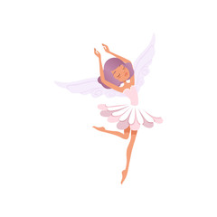 Dancing fairy girl with purple hair wearing flower shaped dress. Beautiful fairytale creature. Imaginary character with little magic wings. Cartoon flat vector design