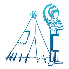 American indian with tent cartoon icon vector illustration graphic design