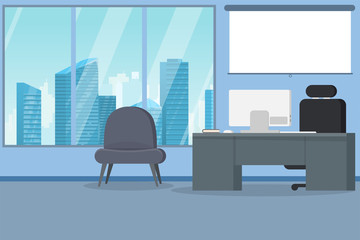 Office interior modern flat vector illustration. Business table with computer monitor and leather chair. Big window with skyscrapers on background and down town business city district.