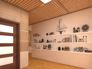 Render Interior design of open space living room in luxury house.