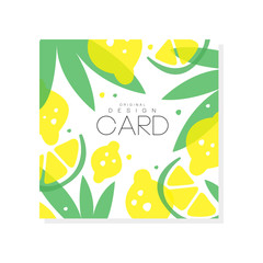 Abstract fruit card with juicy lemons, limes and green leaves. Summer poster. Sweet food. Creative vector design for farmer market or grocery store