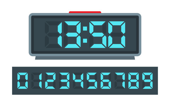 Blue digital clock and set of glowing numbers