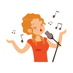 Girl singing with microphone, singer character cartoon vector Illustration