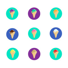 Set of ice cream cones icons