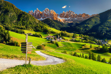 Photo sur Aluminium Alpes Alpine spring landscape with Santa Maddalena village, Dolomites, Italy, Europe
