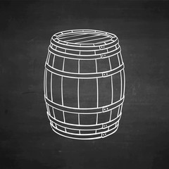 Chalk sketch of wooden barrel.