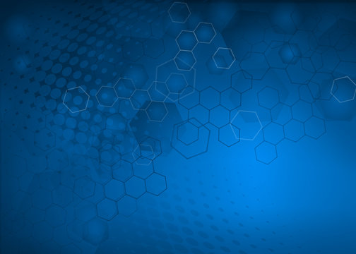 Abstract high resolution free radical molecular illustration of blue faded hexagonal/geometric layered design background perfect for Medical, Healthcare and Science.