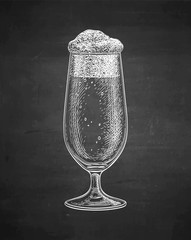 Chalk sketch of beer glass.
