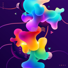 Abstract background with balls and liquid colored spots