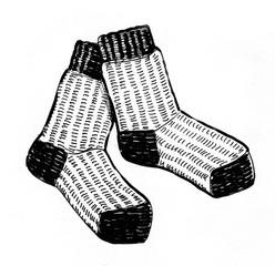 Woolen socks. Black and white ink illustration