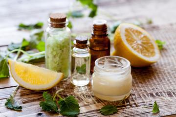 Organic cosmetics concept with lemon ingredients