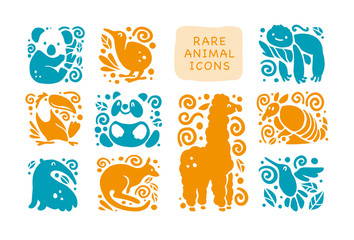 Vector collection of flat cute animal icons isolated on white background. Rare animals and birds symbols. Hand drawn exotic tropic animal emblems. Perfect for logo design, infographic, prints etc.
