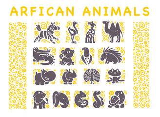 Vector collection of flat African cute animal icons isolated on white background. Tribal style animals and birds symbols. Hand drawn emblems. Perfect for logo design, infographic, prints etc.