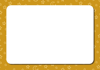 Template horizontal album page with white blank space for notes or drawing. Cute gold or yellow background with cartoon stars and crescents.