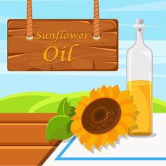 Sunflower oil, glass bottle of food oil on the rustic background vector Illustration design element for banner, poster