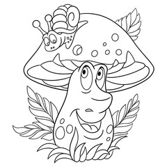 Coloring page. Cartoon Porcini boletus. Happy Mushroom character. Eco Food symbol. Design element for kids coloring book, t-shirt print, icon, logo, label, patch, sticker.