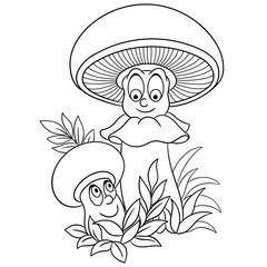 Coloring page. Cartoon Champignons. Happy Mushroom character. Eco Food symbol. Design element for kids coloring book, t-shirt print, icon, logo, label, patch, sticker.
