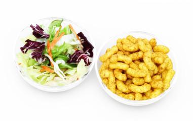 Salat oder Erdnussflips?