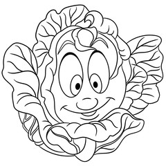 Coloring page. Cartoon Cabbage. Happy Vegetable character. Eco Food symbol. Design element for kids coloring book, t-shirt print, icon, logo, label, patch, sticker.