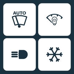 Vector Illustration Set Car Dashboard Icons. Elements Vector Windshield Wiper, instrument panel illumination, high beam, and Snow icon