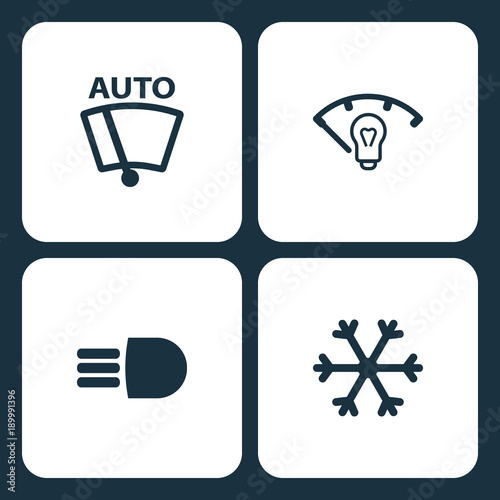 Vector Illustration Set Car Dashboard Icons Elements Vector