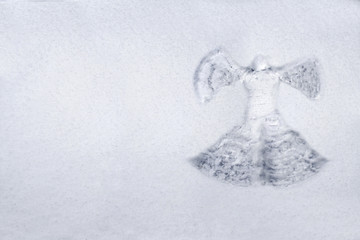 Snow angel made in the white snow