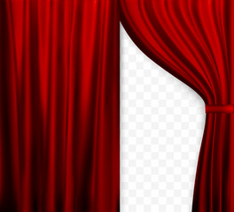 Naturalistic image of Curtain, open curtains Red color on transparent background. Vector Illustration.