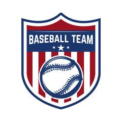 Emblem with baseball ball. Design element for logo, label, emblem, sign, badge.