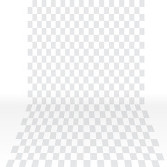Visualization of Transparent background with bends on the sides. Vector Illustration