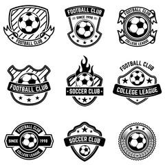 Football club emblems on white background. Soccer badges. Design element for logo, label, emblem, sign, badge.