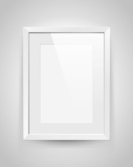 Realistic empty rectangular white frame with passepartout on gray background, border for your creative project, mock-up sample, vector design object