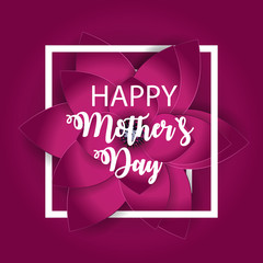 Happy Mother`s Day Cute Background with Flowers. Vector Illustration