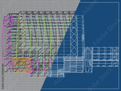 The 3D model of the construction of sports buildings from