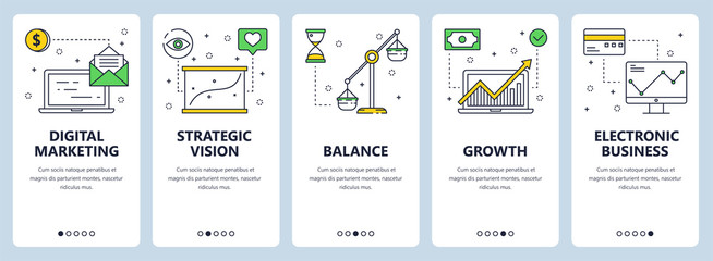 Vector modern thin line digital marketing concept web banners