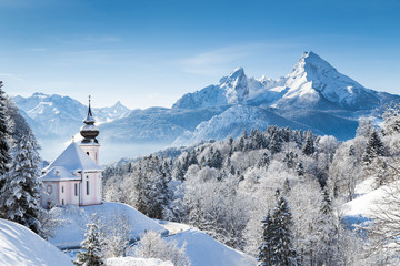 Church of Maria Gern with Watzmann mountain in winter, Berchtesgadener Land, Bavaria, Germany