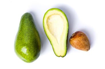 Avocado slices on white background isolated