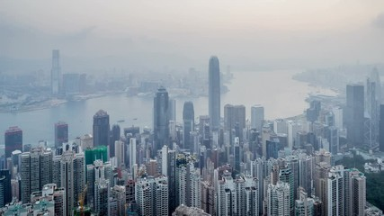 Fototapete - timelapse, sunrise from Victoria peak,  Hong kong
