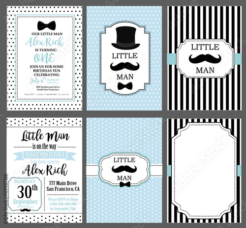 A Set Of Blue White And Black Templates For Invitations Collection Invite Cards