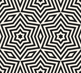 Subtle geometric ornament seamless pattern. Vector black and white texture. Lines pattern. Stars pattern.