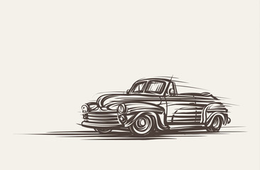 Retro convertible car hand drawn. Vector, eps10.