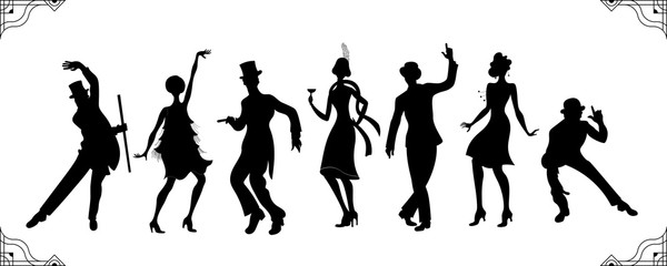 Charleston Party. Gatsby style set. Group of retro woman and man black silhouette dancing charleston. Vintage style.retro silhouette dancer.1920 party vector background.Swing dance girl. Wall mural