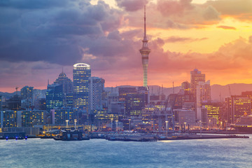 Canvas Prints New Zealand Auckland. Cityscape image of Auckland skyline, New Zealand during sunset.