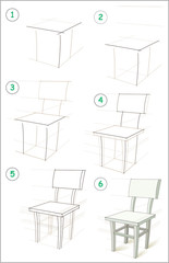 Page shows how to learn step by step to draw a chair. Developing children skills for drawing and coloring. Vector image.