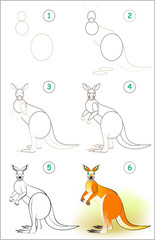 Page shows how to learn step by step to draw a cute kangaroo. Developing children skills for drawing and coloring. Vector image.
