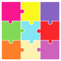 jigsaw puzzle pieces - pictogram vector - white background