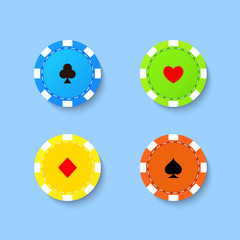 Set of playing chips from the casino on a blue background. Vector illustration .