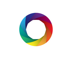 Rainbow camera shutter iris vector illustration. Colorful artwork on the white background.