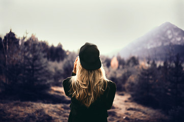 Girl on mountains