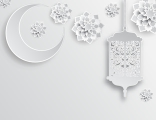 Islamic decoration. Moon, stars and lantern. Ramadan Kareem - glorious month of Muslim year. Modern 3d paper cut concept