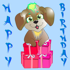 happy birthday card with dog